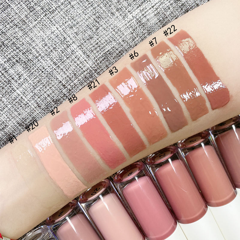 cosmetics vendor bulk low moq cheap customized nude pink lip gloss private logo wholesale big lipgloss
