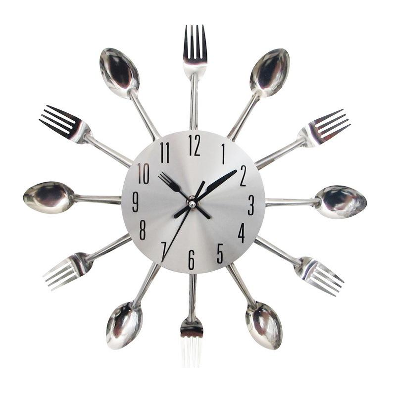 12 inch Modern Design Creative Fork Spoon Cutlery Metal Kitchen Wall Clock