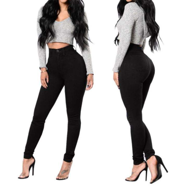 Hot Ladies Skinny Pants Women Colombian Stretch Butt Lifter High Waist Slim Fit Elastic Pants