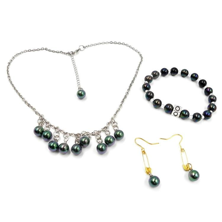 black rainbow pearl necklaces letters bead macrame bracelet for women jewelry set