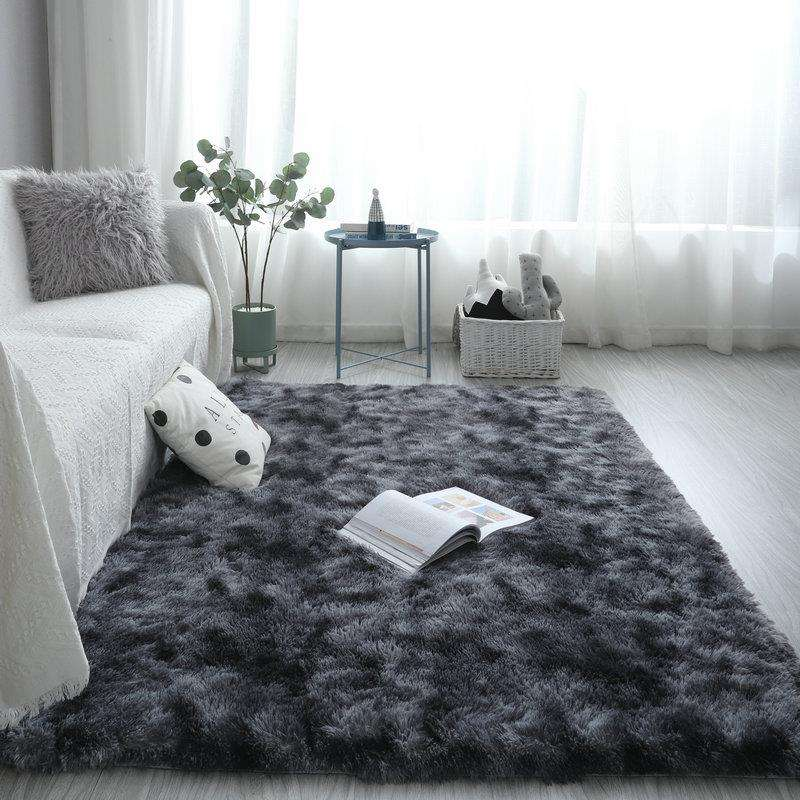 Modern minimalist plush thickening bedroom rug thickening encryption tie dyed carpet for living room