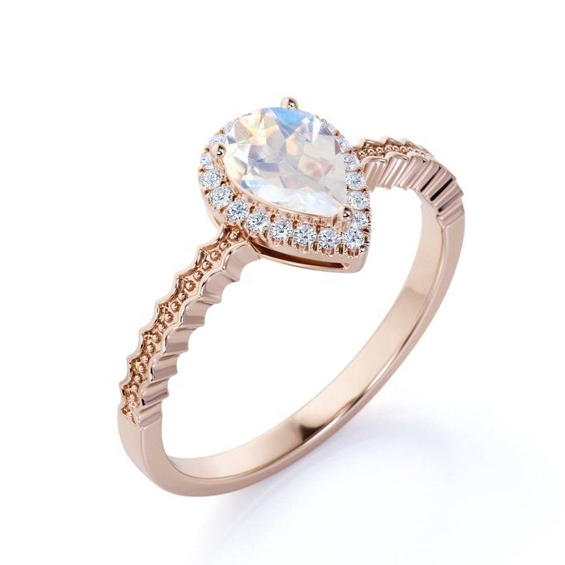 Gold pear shaped Moonstone vintage Ring unique wedding band