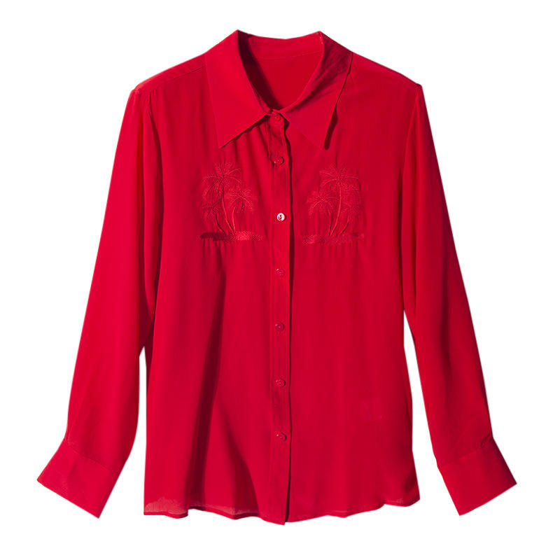 Red silk long sleeve shirt femininity embroidered silk top loose and versatile women's shirt autumn new style