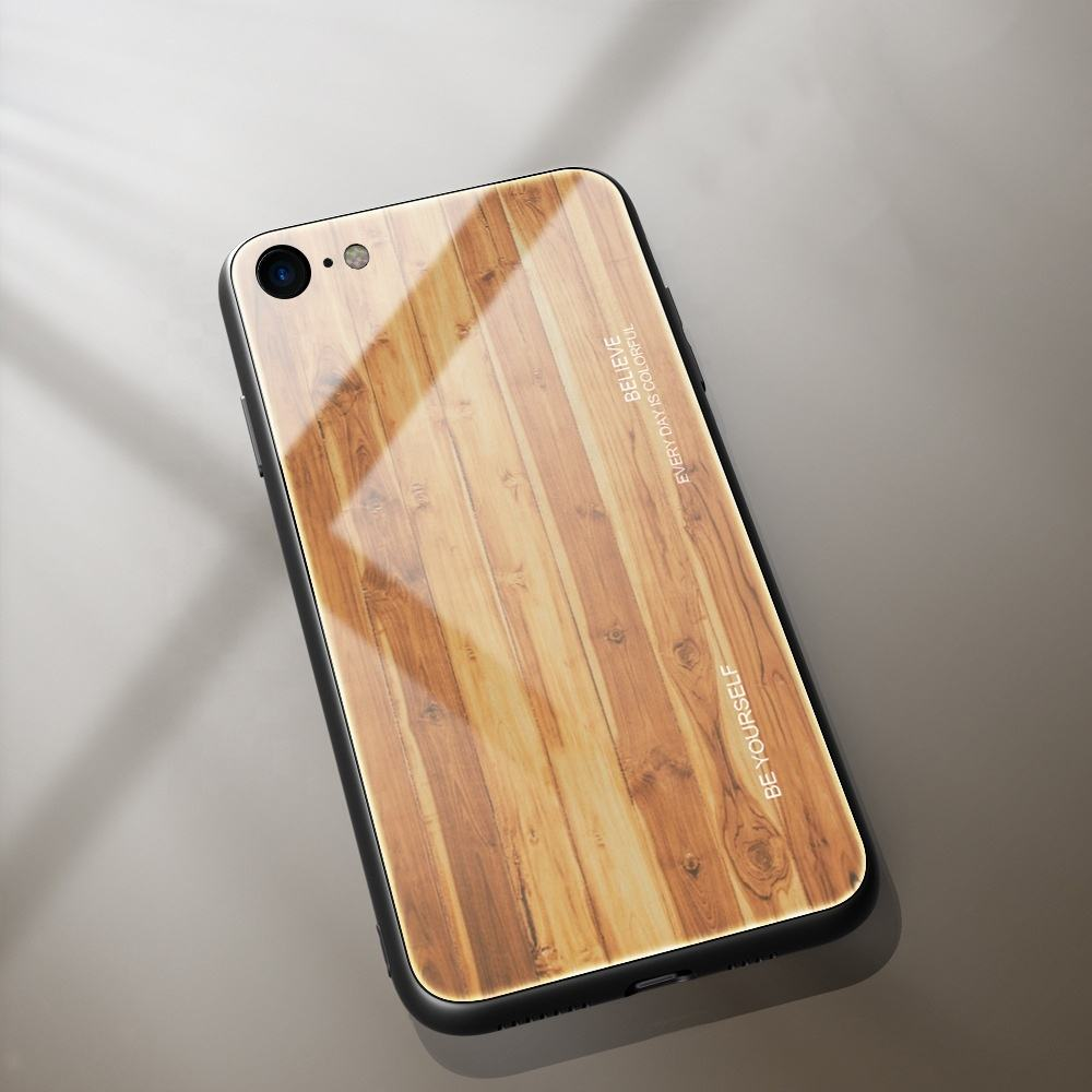 SIKAI New Arrival anti-fall soft edge creative protective sleeve wood grain glass mobile phone case for iphone 11 pro max