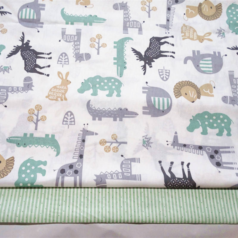 Animals home textile digital print on cotton fabric