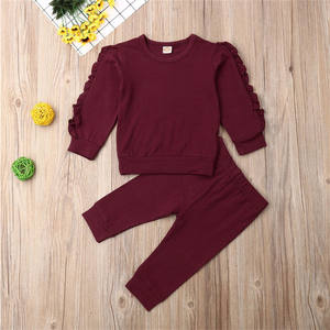 6M-3Y Toddler Baby Girl Winter Clothes Sets cotton Long Sleeve Tops Long Pants ruffle kid girls Outfit