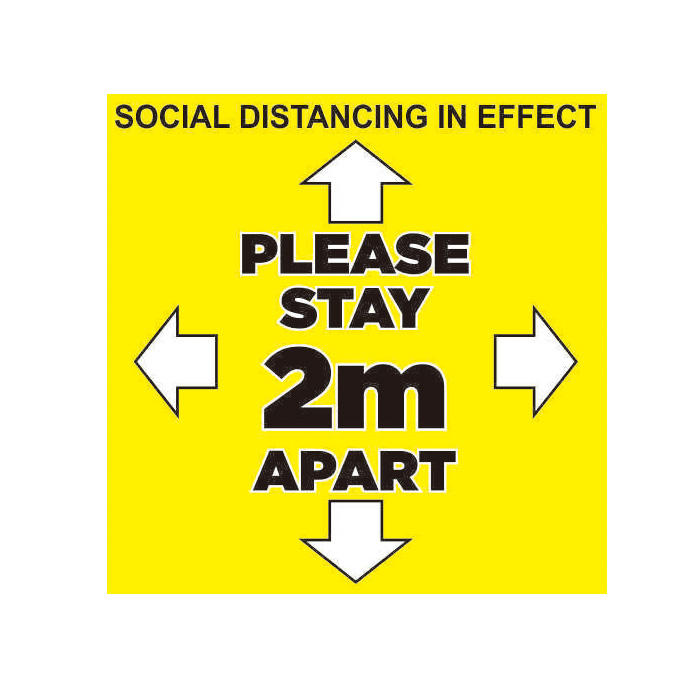 Custom Removable Vinyl Adhesive Social Distancing Awareness Decal for floor window