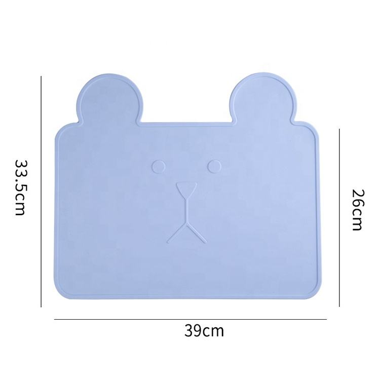 OEM ODM Custom Waterproof Bear Shape Animal Silicone Placemat for Babys Kids
