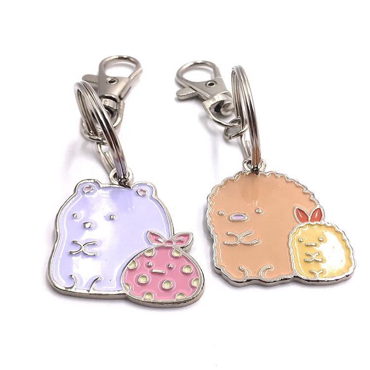 3D 2021 New Design Fair and lovely marks Metal Anime Flowers Key Chains Die Cutting Hard Enamel Hardware Craft Key Lovely Chains