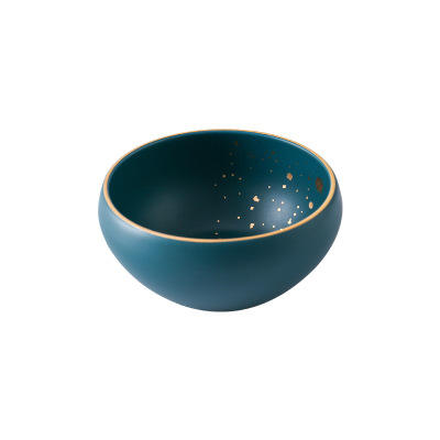 retro green with gold Design small size round porcelain bowl