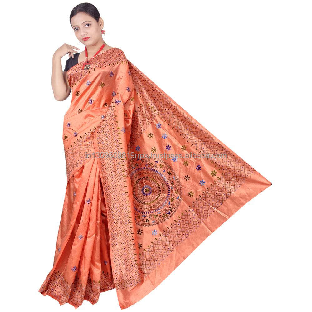 Premium quality gujrati silk fully hand stitched kantha saree