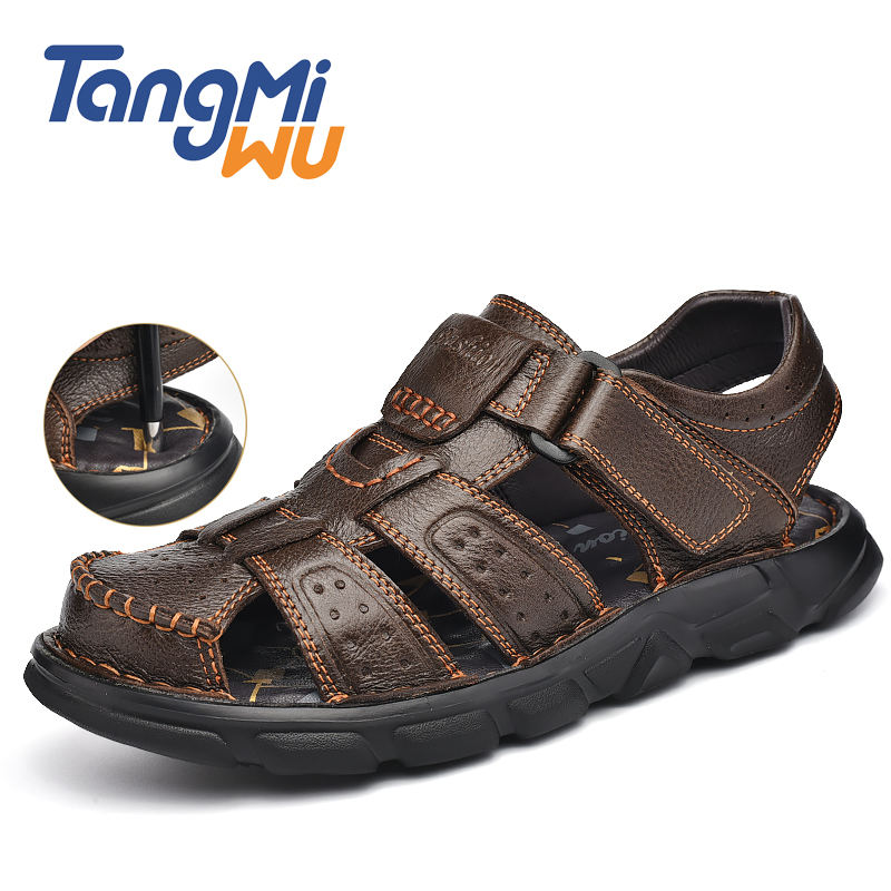 hot sale new style beach sandals men big size shoes for men Manual suture genuine leather sandals