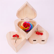 Heart shape wooden box teachers Day wedding gifts for guests rose soap flower