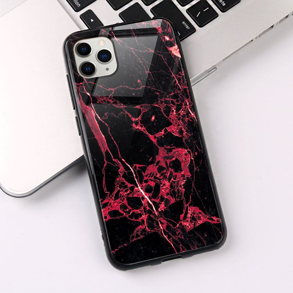 SIKAI New arrival marble glass mobile phone shell for iphone11 pro max glass phone case painting