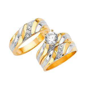 Valentine couples ring set Fashion wedding ring set 18k gold womens ring sets