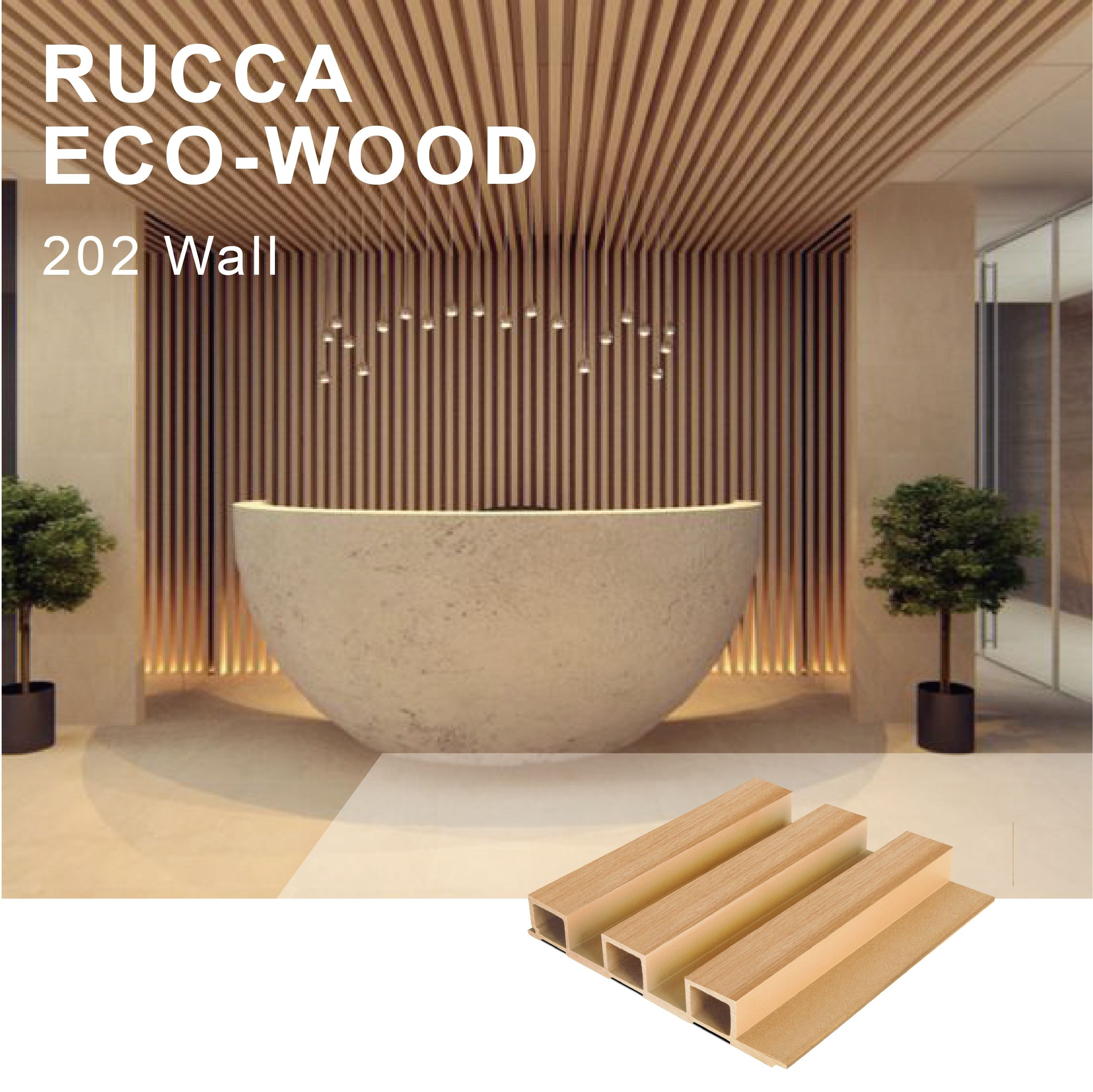 RUCCA wood plastic composite wall panel 202*30mm wpc cladding waterproof wood panel boards