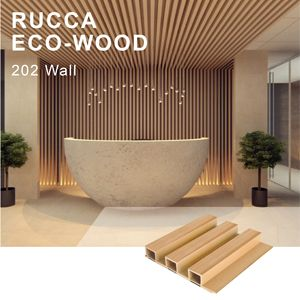 Rucca Komposit Plastik Kayu Wall Panel 202*30 Mm WPC Cladding Kayu Tahan Air Papan Panel