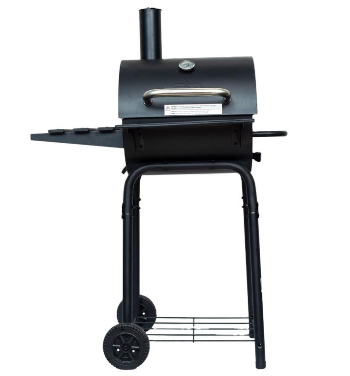 Trolley Barbecue BBQ Smoker Black Charcoal Barrel BBQ Grill with Chimney