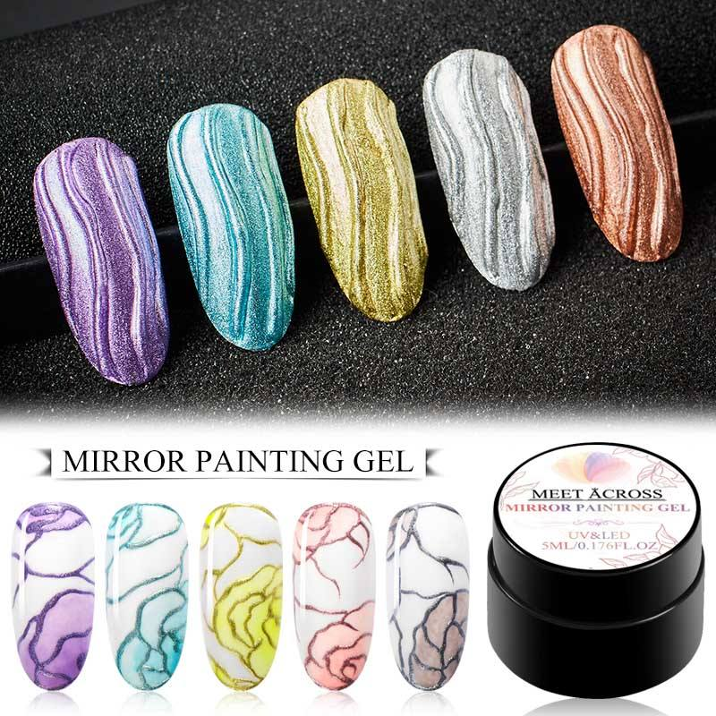 Wholesale Private Label Gold Silver Mirror 3D Metallic Nail Painting UV Gel