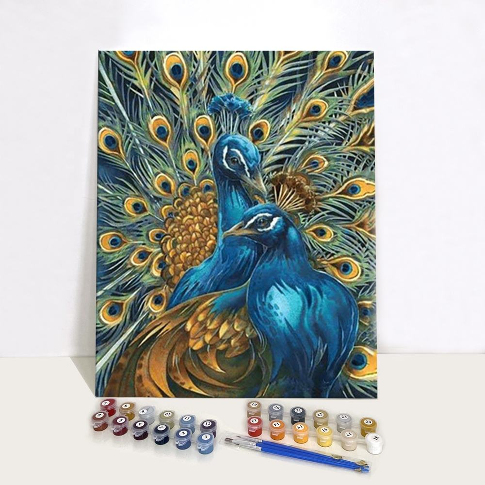 Shenzhen Wholesale Canvas Peacock Art Set Diy Custom Personalized Paint by Numbers