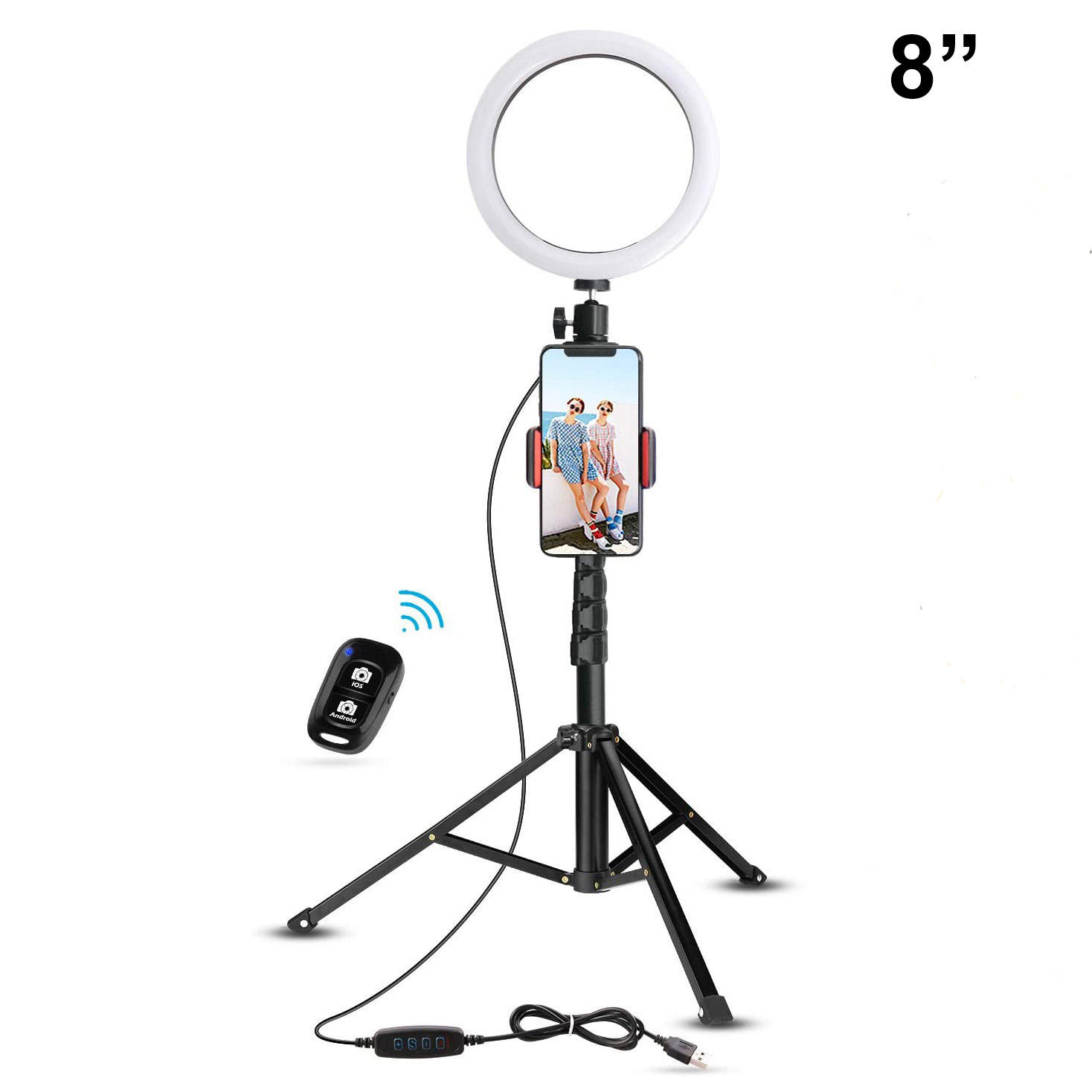"Selfie Ring Light with Stand, 8"" inch Light Dimmable LED Ring Light with Cell Phone Holder for Live Stream Makeup YouTube Video"