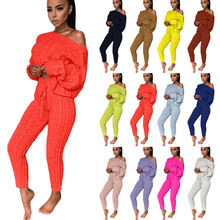 2020 factory solid color women sweater two piece set clothing long sleeve sexy crop top and pants sweater suits