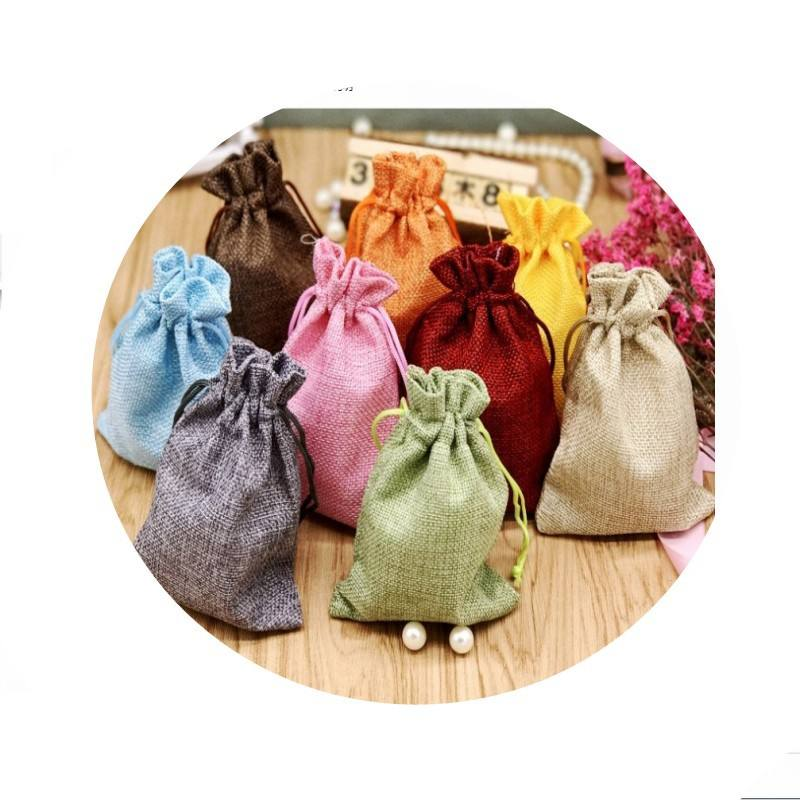 Custom Hot sale 10*14CM phone jewellery cosmetics bulk printing packaging dust jute linen material drawstring gift bag