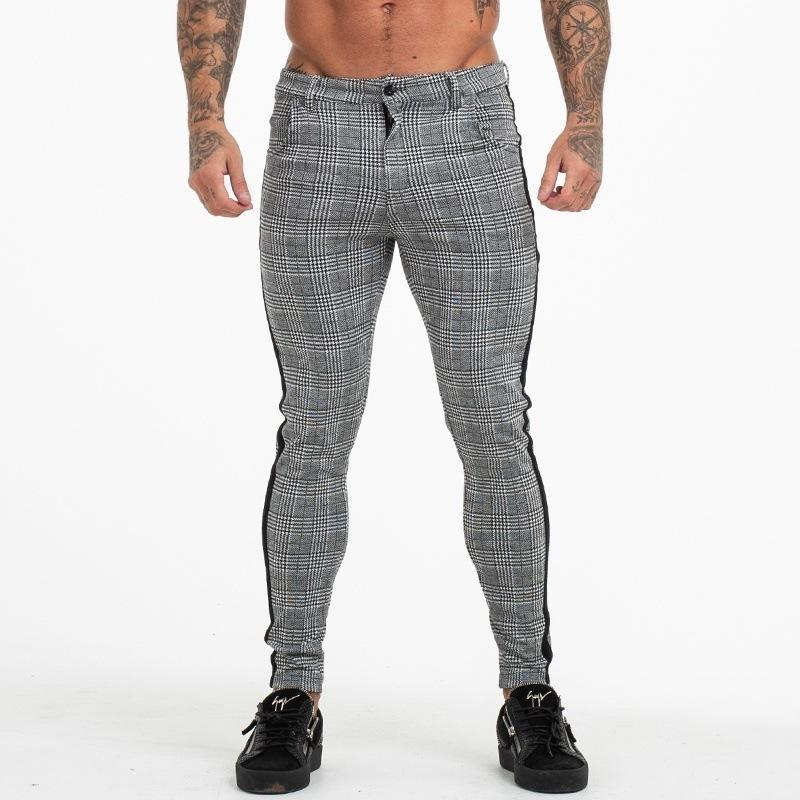 Hot sale spring summer Houndstooth fashion Sexy Men's Slim Fit Plaid Straight Trousers Casual Jogger Formal Pencil Pencil Pants