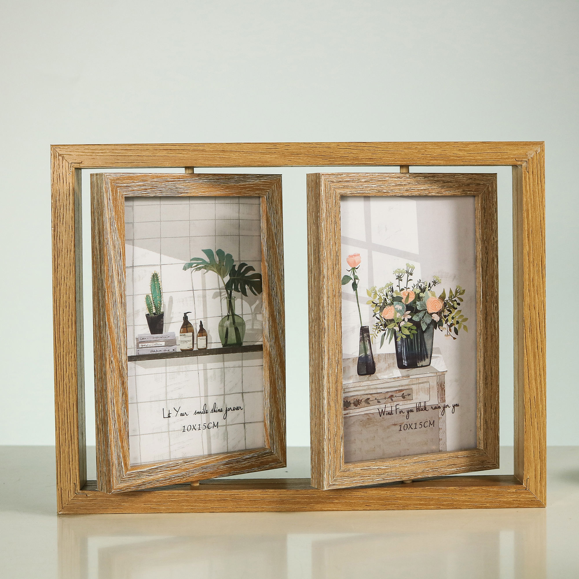 yiwu art factory wood material double frames 4x6 rotatable picture wooden photo frame for couples