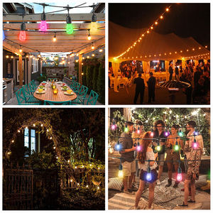 Best selling items 48ft 15m garden string light 165w IP65 patio lights outdoor string for party yard decoration