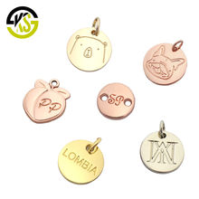 Charm pendant wholesale custom engraved logo metal jewelry tags for bracelet