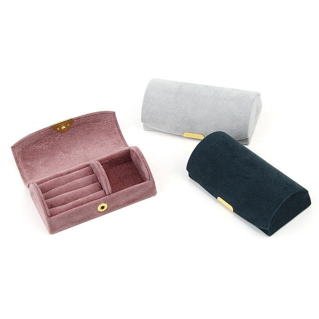 New design travel small case ring earring necklace bracelet jewelry organizer box velvet cover plastic frame JBS-TK01