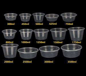 Plastic round takeaway thickened transparent soup bowl packing disposable packaging food containers with lids microvable heating