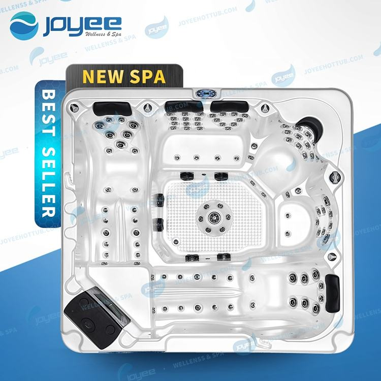 JOYEE Outdoor spa hot tub with LED lights with low price spa tub 6 persons 123pcs jets massage spa outdoor use