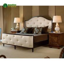 Latest design home bedroom furniture set leather upholstered headboard wood king size bed