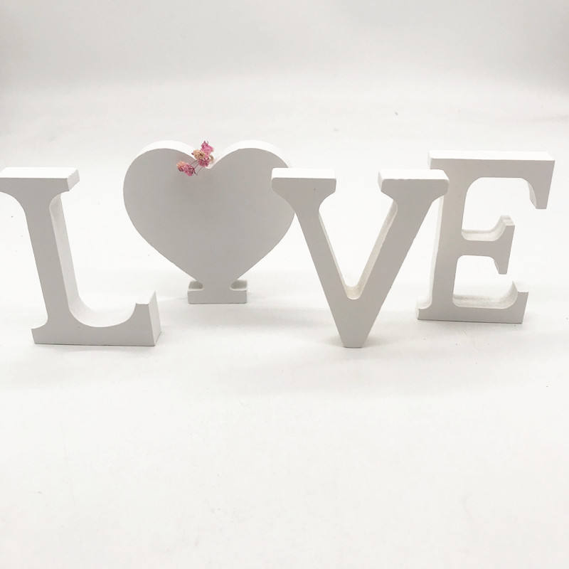 Wooden white alphabet letters for wedding decoration