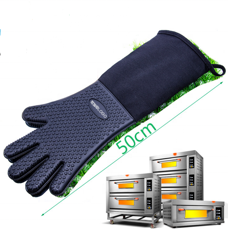 Extra Long Professional Silicone Oven Mitt Gloves With fingers