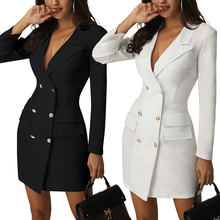 2019 Best Selling Fashion Double-Breasted Slim Sexy Solid Color Thin Coat Women Elegant Mini Dress Lady