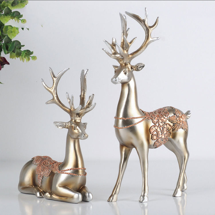Golden creative ceramics deer resin decoration crafts european style deer customized resin crafts figurines