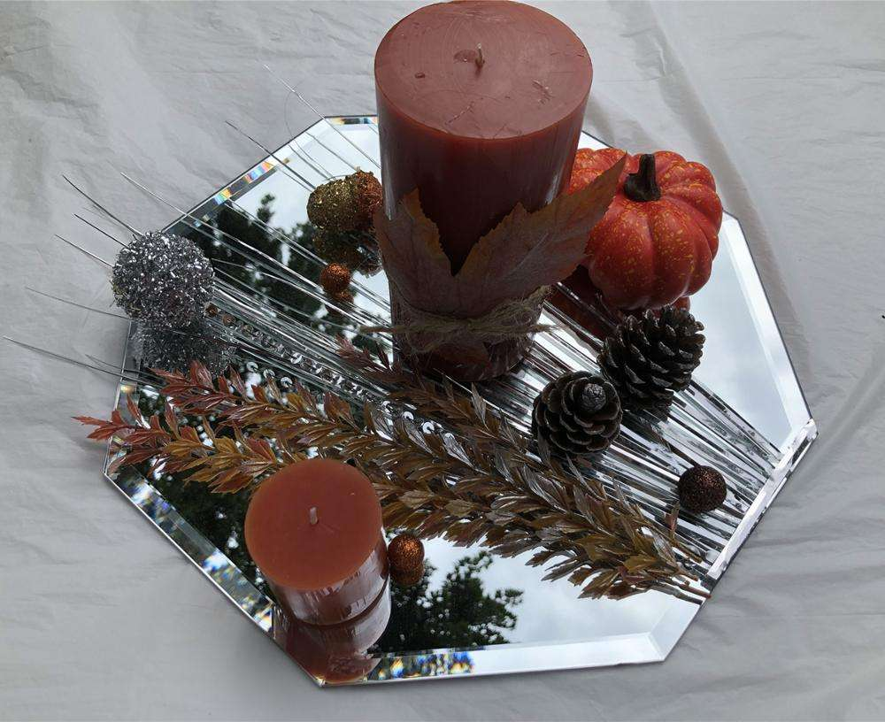 New year deco engagement retro vintage decorative glass mirror candle plate tray for wedding or party anniversary