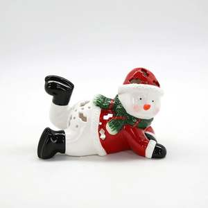 Factory Price 2020 Porcelain White Ornaments Ceramic Snowman Christmas Decoration