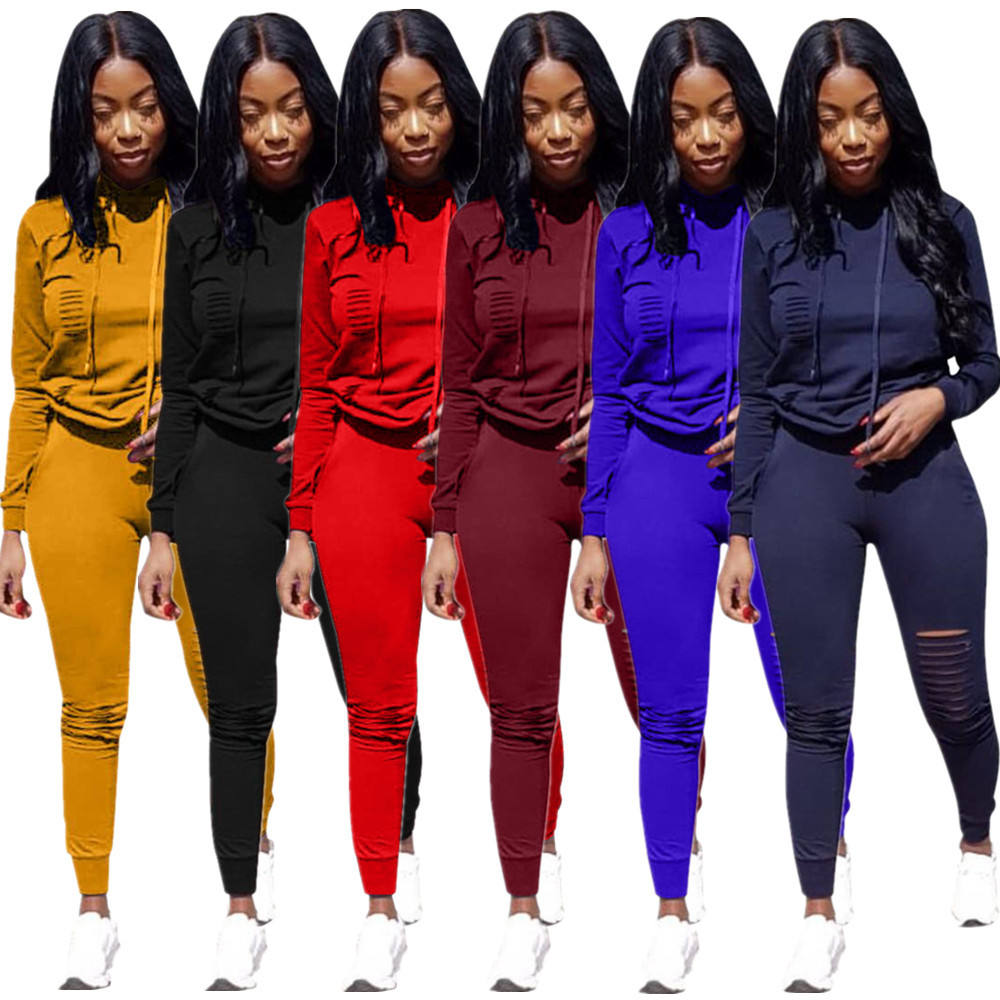 2020 Fall Women Clothing Outfit Two Piece Long Set Stacked Pants Solid Swear Suit Women Joggers Suits Set 2 Piece Set