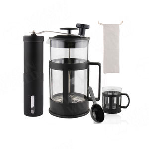 Coffee&tea set, Borosilicate Glass Tea Maker Coffee Maker with Grinder, Household Kitchen French Press Coffee Press With Plunger