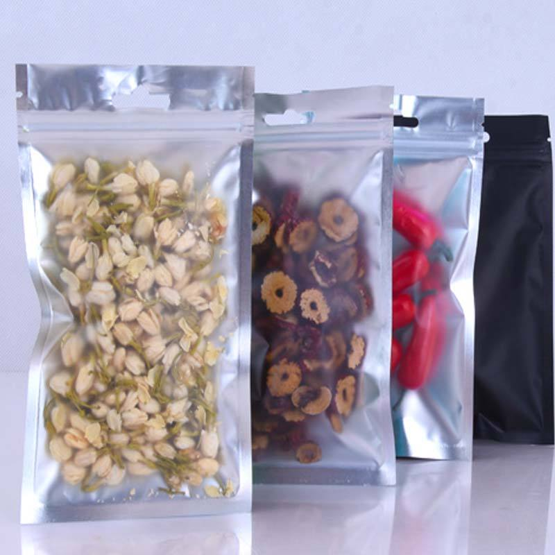 Food grade 3 there side sealing bag one side black one side clear mylar bag with zipper