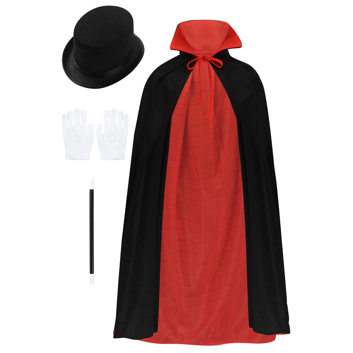Kids Magician Role Play Costume Outfit Cape Hat Magic Wand Set for Halloween Cosplay Party Dress Up party costume