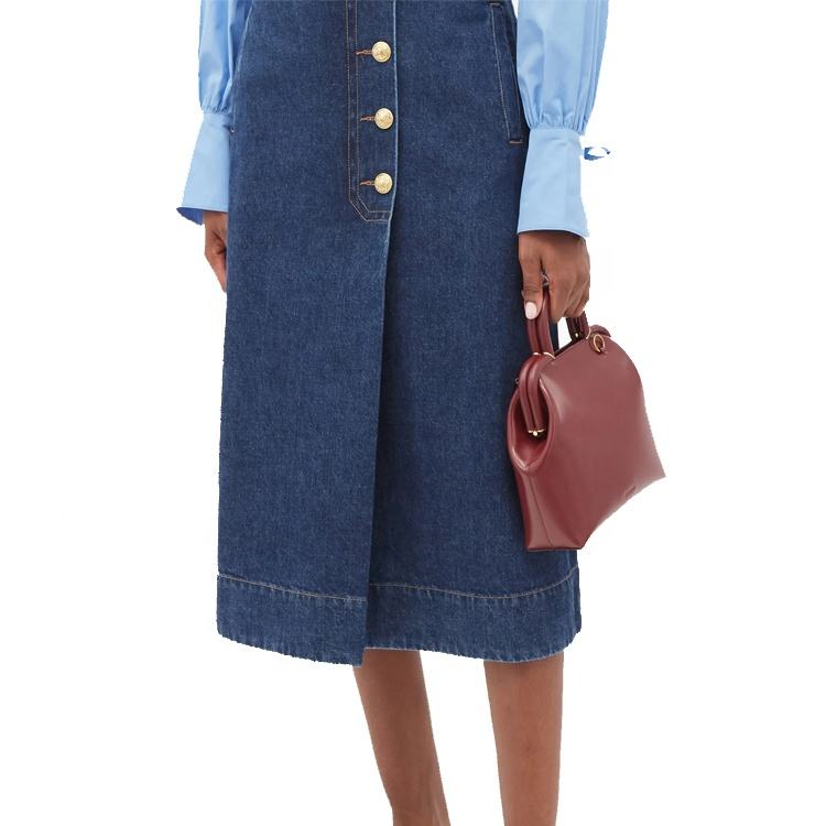 New In Button Denim Wrap Skirt Women Casual 100% Cotton High Waist Midi Jeans Skirt