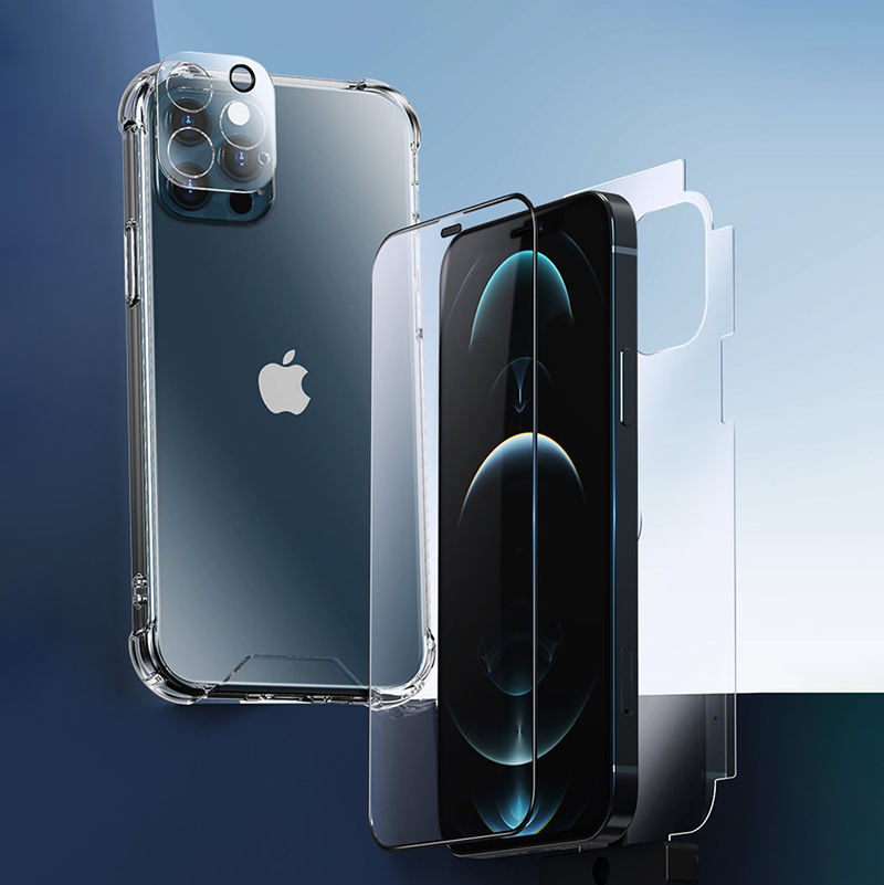 Newest 4in1 Full Cover Tempered Glass Screen Protector Film for iphone 11 12 pro max Clear Silicone Case and Lens Protector