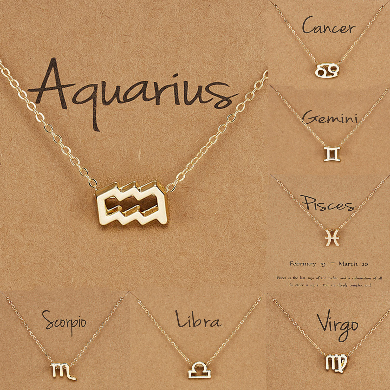 Birthday Gift Gold Plated 12 Zodiac Sign Pendant Wish Card Charm Gold Chain Choker Astrology Necklace Jewelry For Women