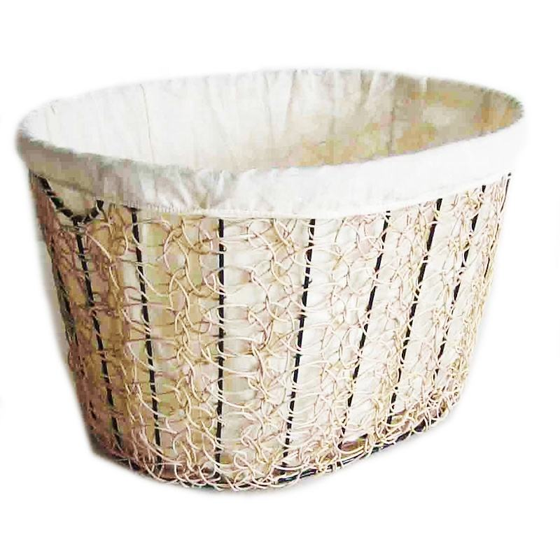 LAUNDRY STORAGE BASKET, RATTAN STUFF STORAGE BASKET, RATTAN WITH IRON FLAME BASKET
