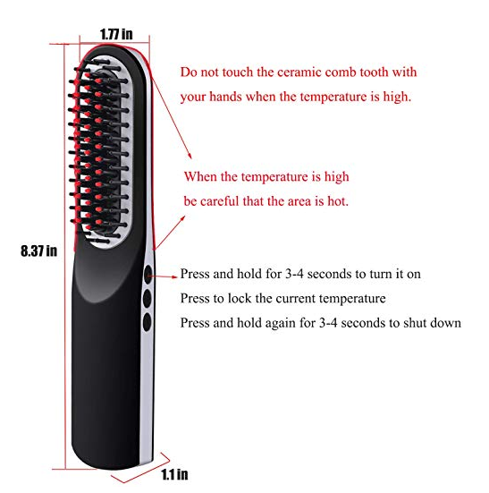 Mini Beard Straightener Brush USB Rechargeable Portable Cordless Hair Straightening Brush For Travel Beard Straightener Brush
